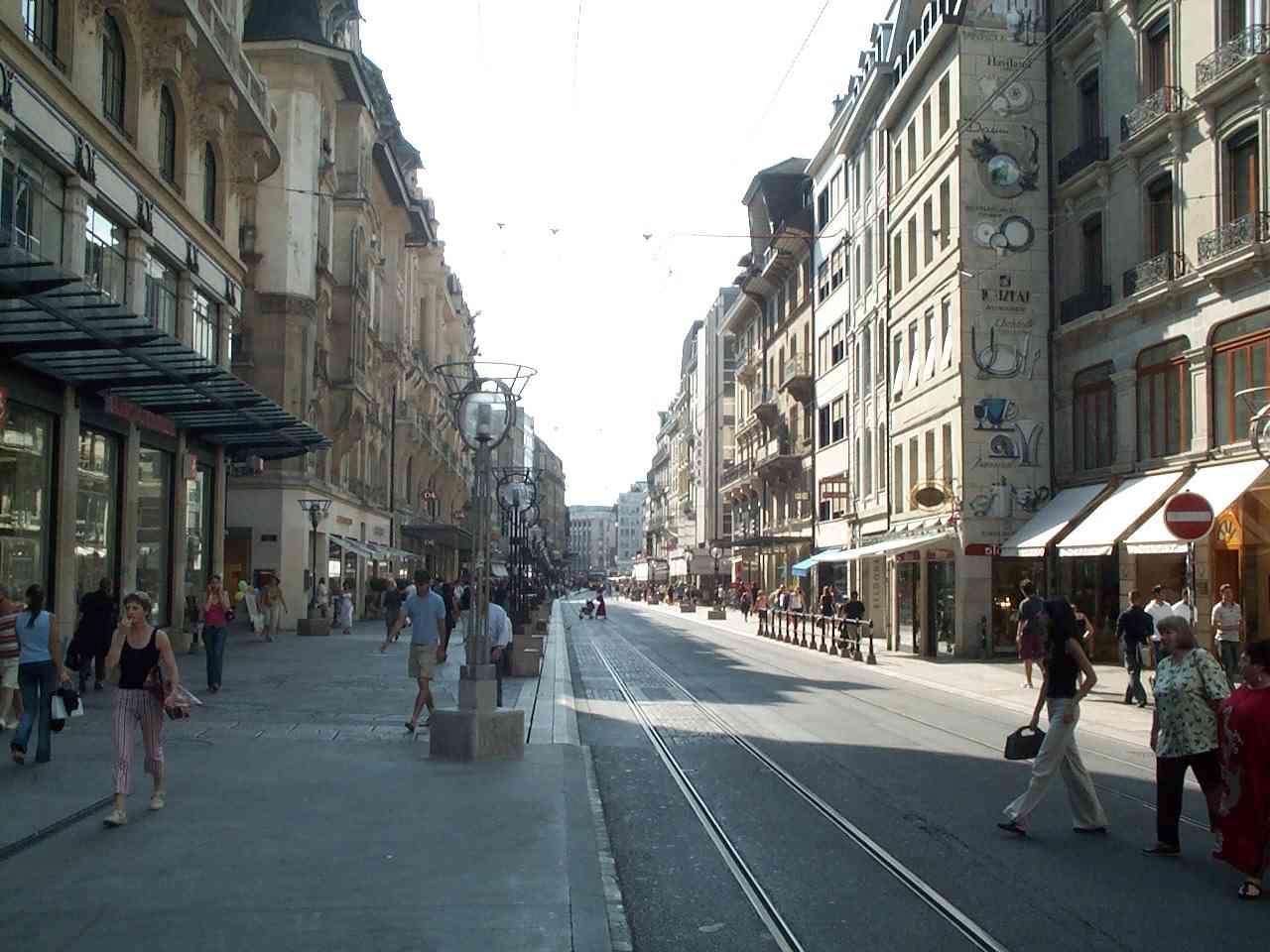 Street pedestrians shops